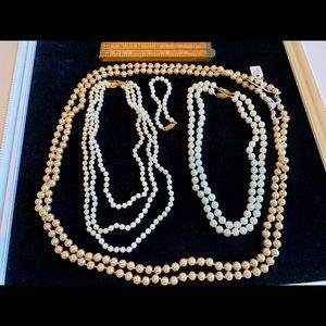 Faux pearl glass bead lot 7 necklaces 1 bracelet